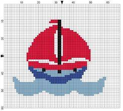 Beginners Sail Boat Counted Cross Stitch Sewing Kit